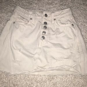 cream free people mini jean skirt